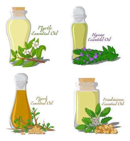 A set of essential oils, myrtle, hyssop, myrrh, frankincense.