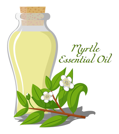 Bottle with essential oil of myrtle.