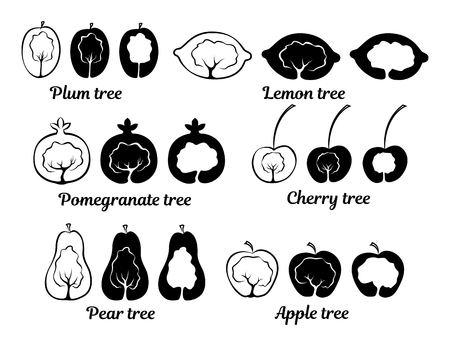Conceptual icons of fruit trees: plum tree, apple tree, cherry tree, pomegranate tree, lemon tree, pear tree