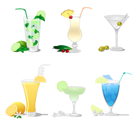 dewy: A set of cocktails such as Mojito, Margarita, Pina Colada, Screwdriver, Dry Martini, Blue Lagoon