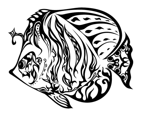 Black and white fish based in doodling style