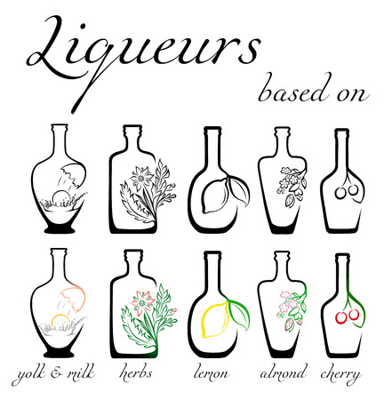 A set of conceptual icons of liqueurs with the ingredients on which they are based Ilustrace