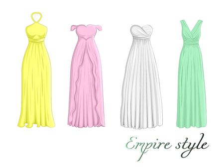 A set of four different dresses in Empire style
