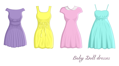 A set of four different dresses in Baby doll style