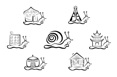 Illustration of a stylised snail in seven variations.
