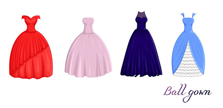 A set of four ball dresses of different styles and colors Illustration