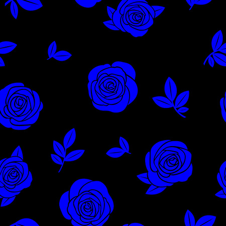 Seamless texture of blue roses and branches on a black background