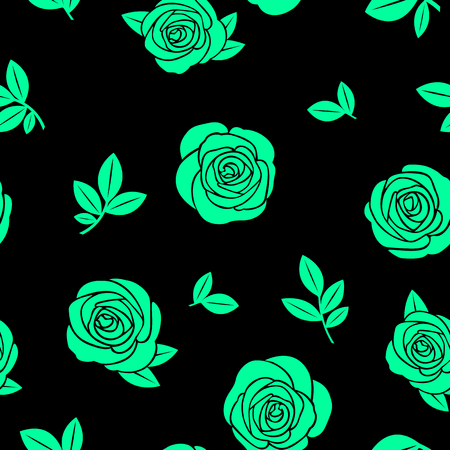 Seamless texture of green roses and branches on a black background Illustration