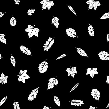 Seamless texture of white leaves of different trees on a black background