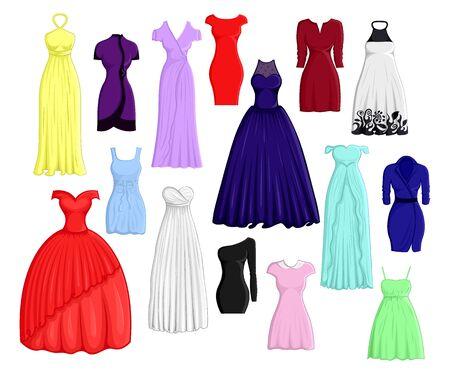 Komplet sukienek w różnych kolorach i fasonach