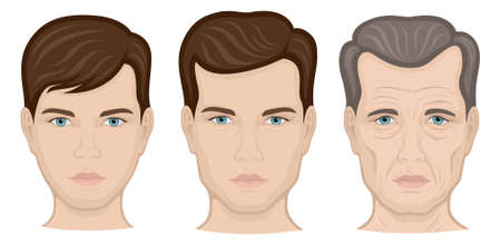 Illustration of one person in three different age groups - a boy, a man and an older man Иллюстрация