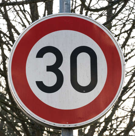 German sign maximum speed allowed is 30