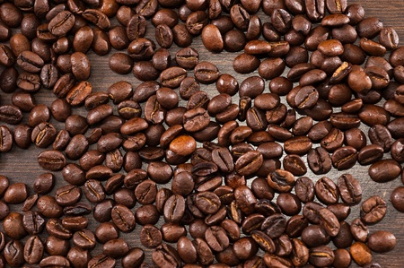 stimulated: one brown coffee beans background
