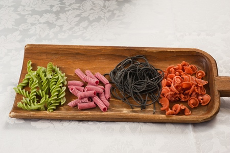 made by hand: Colored pasta made ??by hand