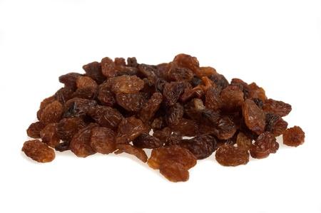 frutas deshidratadas: Pasas de uva sultana aislado en blanco Foto de archivo