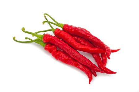 cayenne: Hot chili pepper isolated on white