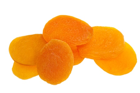 dehydrated: Dried apricots isolated on white