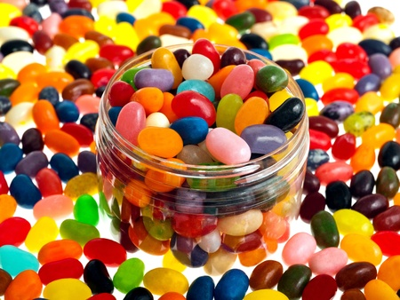 brightly colored: Multi-colored  jelly beans mix Stock Photo