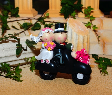 Figurine with motorcyclists for wedding cake photo