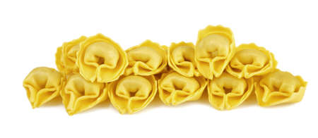 Homemade tortellini isolated on white photo