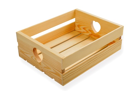 crate: Wooden box isolated on white Stock Photo