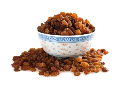 Sultana raisins cup isolated on white