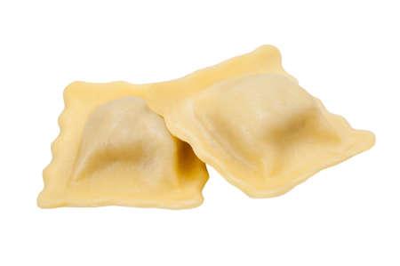 tortellini: Homemade tortellini isolated on white