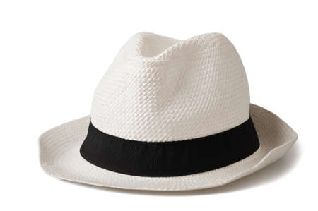 men s: White hat isolated on white  Stock Photo