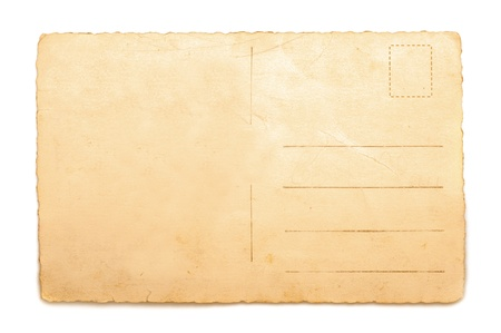 old envelope: Old Postcard isolated on white