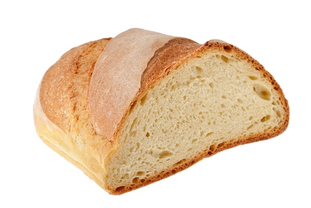 crust crusty:  half loaf isolated on white Stock Photo