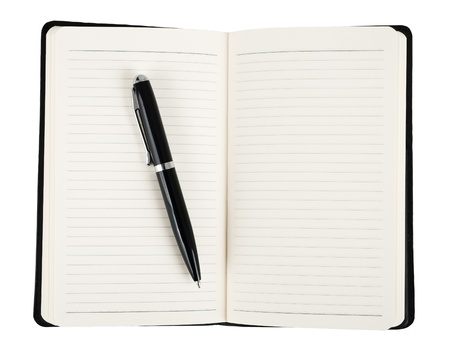 Notebook with pen isolated on white Stock Photo - 16034645