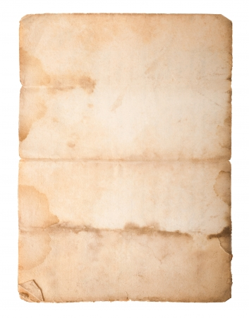 vintage parchement: Dirty old paper isolated on white