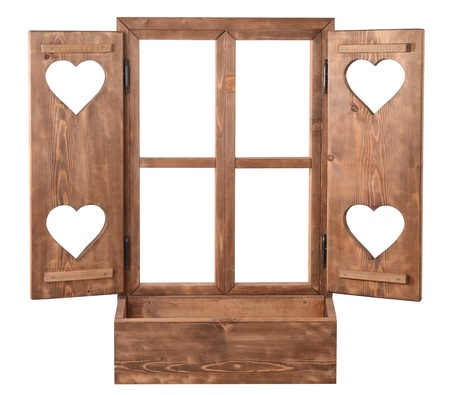 windows frame: window with door with hearts Stock Photo