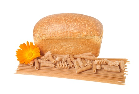 integral: Pasta, bread and marigold isolated on white Stock Photo