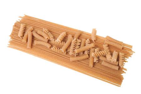 maccheroni: spaghetti, fusilli and maccheroni isolated on white