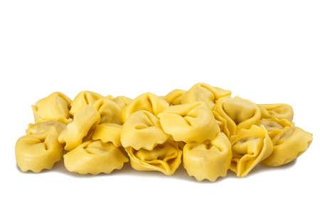 raviolo: Homemade tortellini isolated on white