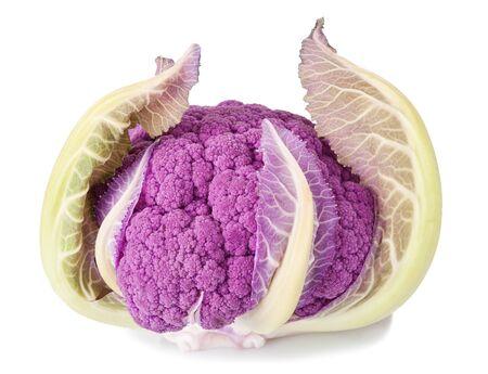 head of cauliflower: Purple cauliflower isolated on white Stock Photo