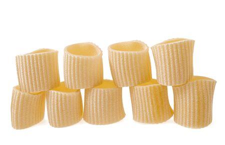 maccheroni: maccheroni group isolated on white Stock Photo