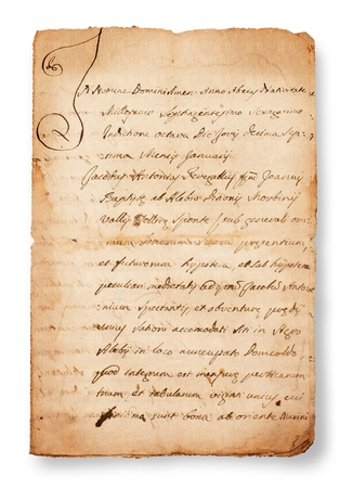 old papers: antique handwriting  isolated on white Stock Photo