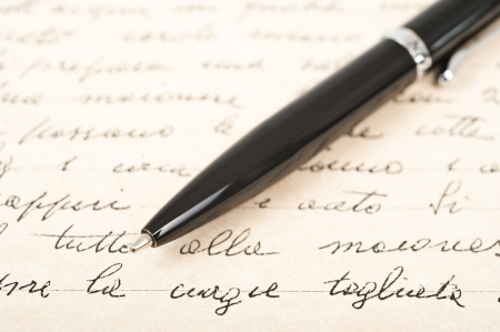 hand written: pen with hand written letter Stock Photo