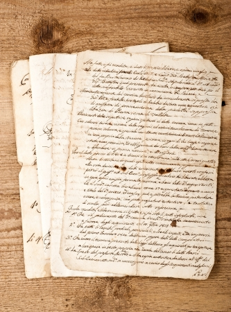 old writing: antique handwritings  on wood background