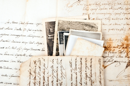 copy writing: Old letters with old photos Stock Photo