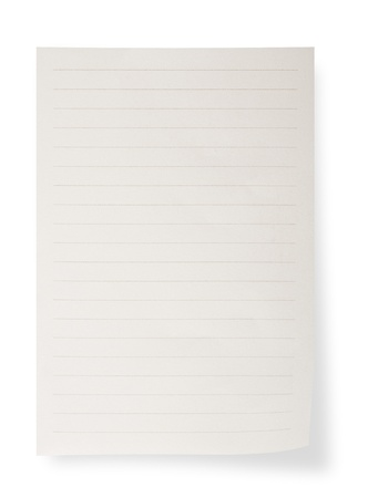 copybook: Paper sheet on white background