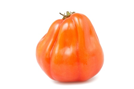 heirloom: Oxheart or beefsteak tomato on white  Stock Photo