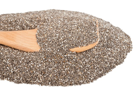hispanica: chia seeds isolated on white with spoon Stock Photo