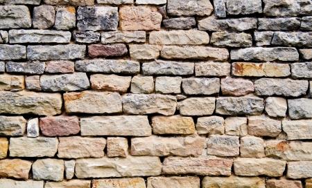 Stacked stone wall background horizontal Stock Photo