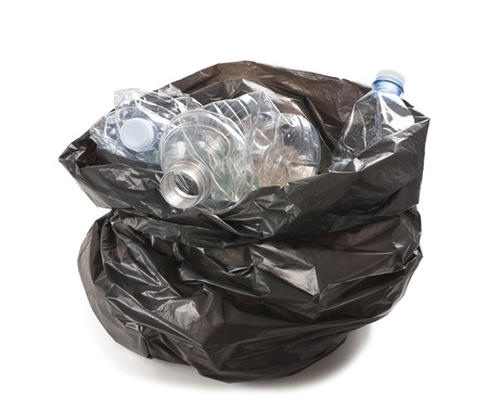 garbage bag with plastic bottles photo