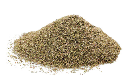 dried herb: Pile of Dried Thyme Isolated on White Background