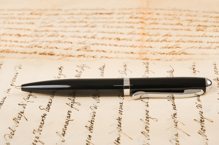 cursive: pen with hand written letter Stock Photo