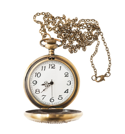 pocketwatch: pocket watch with chai isolated on white